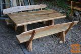 Vrtna miza + 2x klop - material BREST